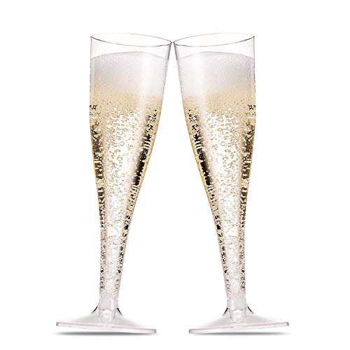 50 Plastic Champagne Flutes 5 Oz Clear Plastic Toasting Glasses Disposable Wedding Party Cocktail Cups