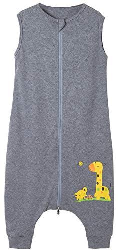 Chilsuessy Baby Schlafsack Sommer mit Füßen 0.5 Tog 100% Baumwolle Kinder Sommerschlafsack für Jungen und Mädchen, Grau Giraffe, 100cm /Baby Höhe 110-120cm