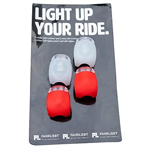 FAHRLIEBT ® - LED Rollerlicht 4er Set - Die Rollerlichter leuchten hell, sind kompakt und wasserfest - Ebenfalls als Kinder Rollerlicht geeignet