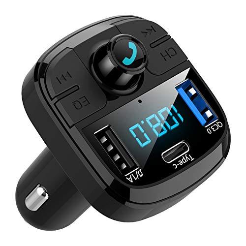 display0 USB C Cargador De Coche BT29 Bluetooth 5.0 MP3 Carga Rápida Con Pantalla LED QC3.0 Adaptador De Cargador De Coche Música Bajo Para Teléfono - Negro