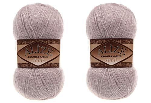 Alize Angora Gold Simli 5% Metallic 20% Wool 75% Acrylic Lot of 2 skn 200gr 1100 ydsYarn Thread Crochet Lace Hand Knitting Turkish Yarn (163 Rose Grey)