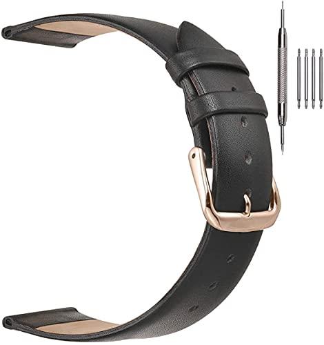 HAOHANYOUPIN Correas de reloj de cuero fino clásico para damas, correas de reloj de cuero genuino para mujeres, hombres, 12 mm, 14 mm, 16 mm, 18 mm, 20 mm, más colores correas de reloj