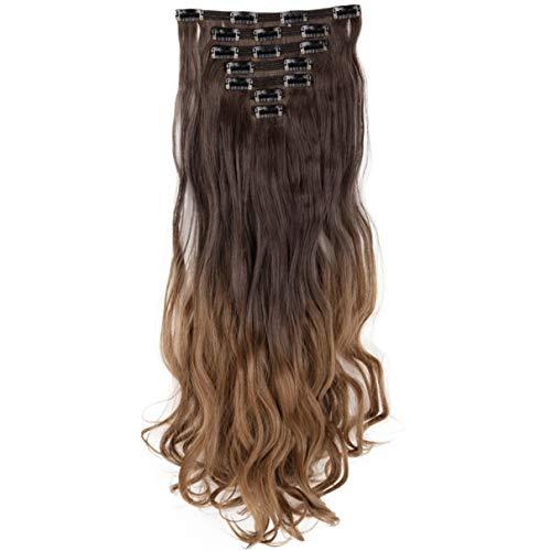 DODOING Lot de 7 extensions de cheveux synthétiques épais avec 16 clips - - Bouclé-61 cm