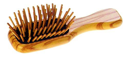 Mini Haarbürste mit Holzstiften aus Olivenholz, antistatisch, Maße ca. 115 x 35 mm, vegan, ideal für unterwegs, hergestellt in Deutschland