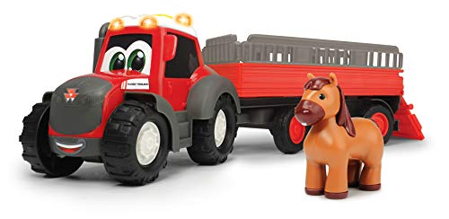 Dickie Toys 203815005 Happy Massey Ferguson Animal Trailer, Traktor mit Tieranhänger und Pferd, Trecker mit Anhänger, Bauernhof Spielzeug, Licht & Sound, 30 cm, ab 12 Monaten, rot