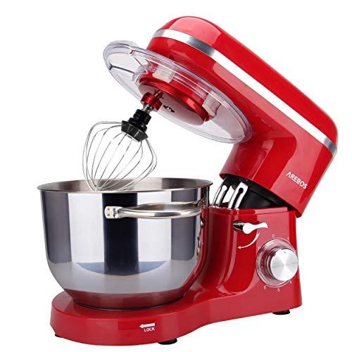 Arebos Küchenmaschine 1500W mit 6L Edelstahl-Rühlschüssel, Rührbesen, Knethaken, Schlagbesen und Spritzschutz, 6 Geschwindigkeit Geräuschlos Teigmaschine, Rot