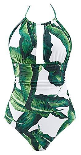 B2prity Damen Badeanzug Retro Tief V Ausschnitt Rückenfrei Neckholder Bauchweg Monokini Bademode (Druckblume 19, L (EU 38-40))