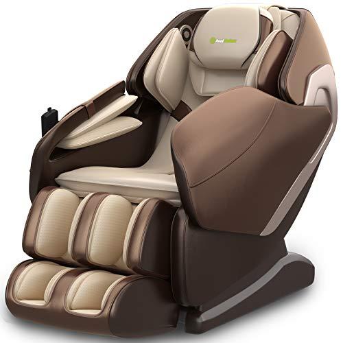 Real Relax Massagesessel, SL-Track 3D Schwerelosigkeit Shiatsu Massagestuhl Liegesessel für den Ganzkörper mit Musikmassage, Body-Scan-Technologie, Bluetooth, Luftdruckmassage Für Zuhause Büro(Braun)