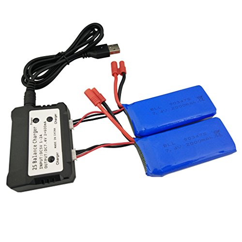 Sea jump 2PCS 7.4v 2000mah 25c Li-po Battery With 2 In 1 Balance Charger for Syma X8C X8G X8W X8HW X8HG X8HC Venture RC Quadcopter Spare Part
