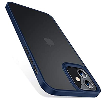 TORRAS Shockproof Designed for iPhone 12 Case/Designed for iPhone 12 Pro Case, [Military Grade Drop Tested] Translucent Matte Hard PC Back with Soft Silicone Edge Slim Fit Protective Guardian, Blue