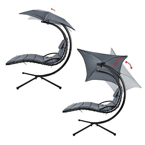 Montafox Schwebeliege Hängeliege in vielen Farben Schwingliege Sonnenliege mit Sonnenschirm, Auflagen und Nackenkissen, bis 150 kg belastbar, Farbe:Asphaltgrau - 4