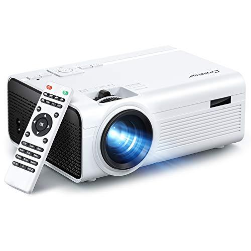 Crosstour Proyector, Mini Proyector Portátil Soporte HD, Cine en Casa con Control...