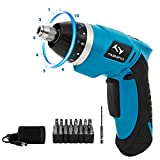 Electric Screwdriver, Tilswall Mini Cordless Screwdriver 5V 4N.m Battery 10+1 Variable Torque Adjustments with 33 Free Accessories Extra Bits Set for Home DIY