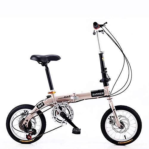Wghz 14 Pouces Pliable Mini Ultra-léger Portable Adulte Enfants étudiants étudiants Hommes et Femmes Petite Roue Vitesse Variable Double Frein à Disque vélo, Blanc