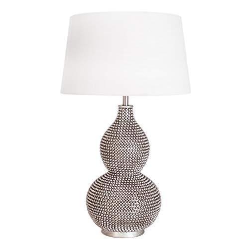 Lámpara de Mesa Oriental Salón con Direktschalter Lámpara Mesita Noche 56,5cm Alto Lámpara de Comedor Pantalla Blanco Wohnimmerleuchte Moderno