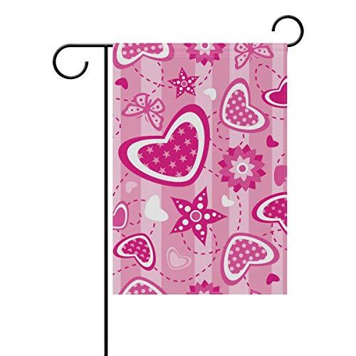 ZXYAIAN Bandera de primavera y verano de San Valentín, corazón, mariposa, estrellas, jardín, patio, para casa, maceta de flores de doble cara impresión, 30,5 x 45,7 cm