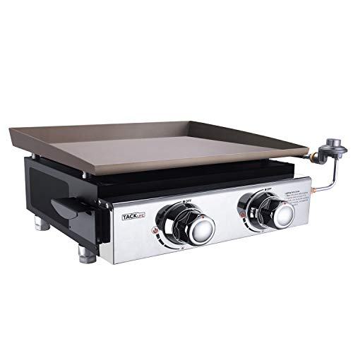 TACKLIFE Table Top Grill, 18Inch 17,000 BTU 282 Square Inches Large Cooking Area, Portable Gas Grill with 2 Burners, Stainless Steel for Outdoor Cooking, Camping, Tailgating or Picnicking Griddles