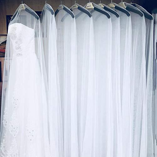 Funda para vestido de noche, vestido de novia, para guardar en casa, ropa, vestido de novia, vestido, vestido de novia, protector de malla, 160 cm, 180 cm, 200 cm, color blanco