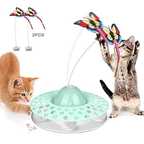BestFire Cat Tease - Juguete interactivo para gatos eléctricos giratorios, diseño de mariposa, gatito, sonido, pista, bola de juguete para interior con alas luminosas