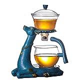 MUBAY Exquisita Tetera Conjunto de infusión de Drenaje de Goteo de Vidrio de Alta borosilicato con Base Pyrex/Tetera para Beber té/café Servicio de té y café
