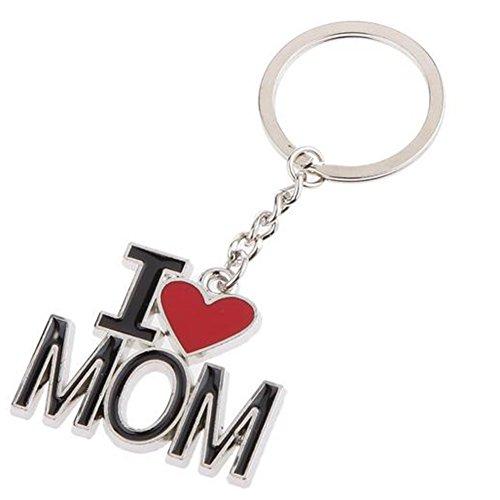 Outflower - Llavero de metal con texto «I Love Mom», regalos creativos de moda, para llaves del coche, regalo para el día de la madre