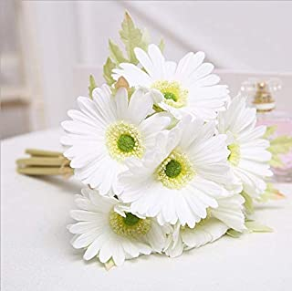 FRP Flowers Real Touch Latex 24 inch Gerbera Daisy for Bouquets, vase Arrangements, Home/Office Decor (Pack of 5) (White)