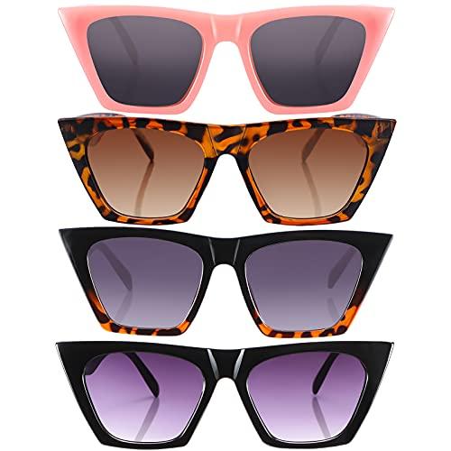 4 Pairs Vintage Square Cat Eye Sunglasses Unisex Mirrored Glasses Retro Cateye Sunglasses for Women and Men (Black, Pink, Leopard, Black Leopard)