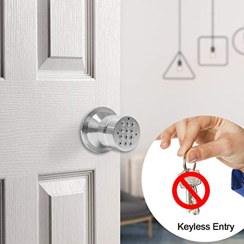 Signstek Electronic Keypad Door Knob Lock with Encryption Function, Silver