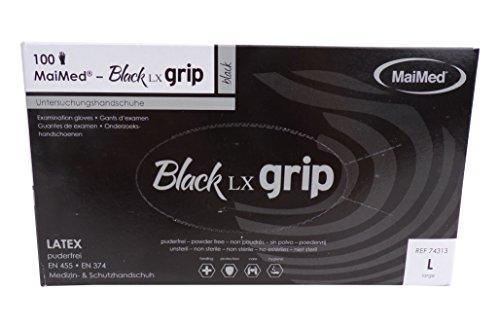 MaiMed Black LX Grip Latex Handschuhe Gr.: L Box a 100 St. schwarz 74313