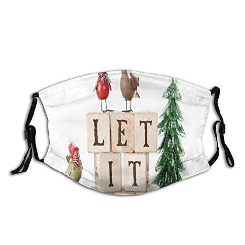 Comfortable Windproof mask,Let It Snow Typography In Alphabet Blocks And Birds Surrounded By Winter Ornaments,Printed Facial decorations for adult