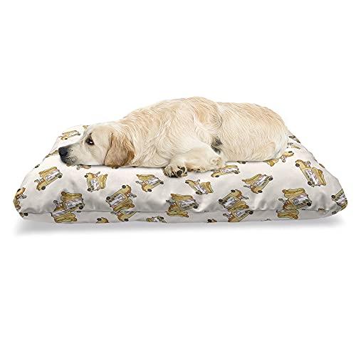 ABAKUHAUS Hotdog Haustierbett, Nahrungsmittel-LKW Van Cartoon-Spaß, beissfestes Kissen für Hunde und Katzen mit abnehmbaren Bezug, 60 cm x 100 cm, Mehrfarbig