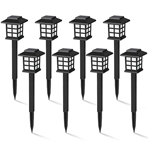 GIGALUMI 8 Pack Solar Pathway Lights Outdoor
