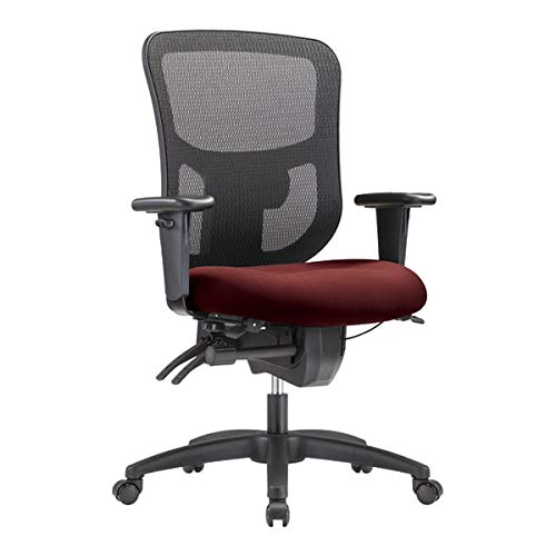 WorkPro 9500XL Big and Tall Fabric/Mesh Mid-Back Multifunction Chair, Burgundy/Black
