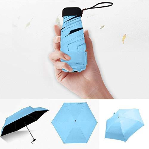 Luxuriöser leichter Regenschirm für Damen, schwarze Beschichtung, Sonnenschirm, 5-fach gefaltet, Unisex, tragbar, Taschenschirm – Blau, A1