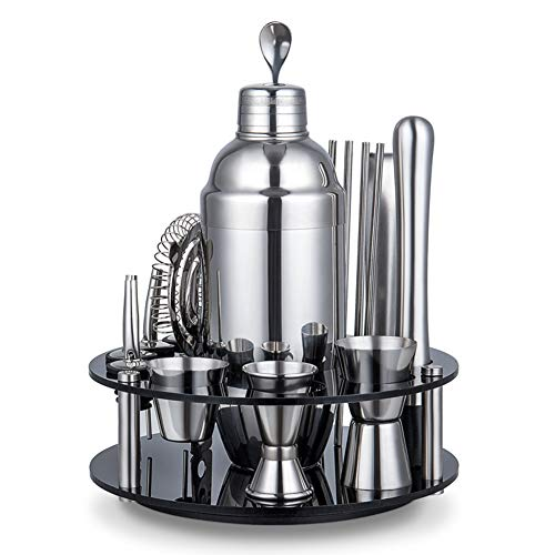 AIZYR Cocktail Shaker Set with Rotating Stand, Stainless Steel Cocktailshaker Mixer Cocktail Shaker Bar Set with 3 Measuring Cup Best Gift,550ml