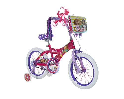 Dynacraft Barbie Kids Bike Girls 16 Inch with Training Wheels, Hand Brake, Backpack, and Ride with Me Barbie Accessory in Pink/Purple