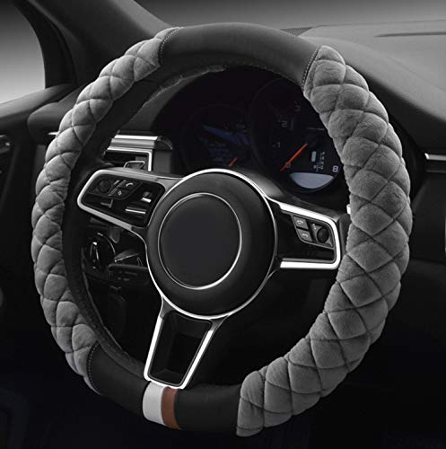 HAOKAY Luxurious Soft Plush Winter Steering Wheel Cover with Universal Size 15 Inches