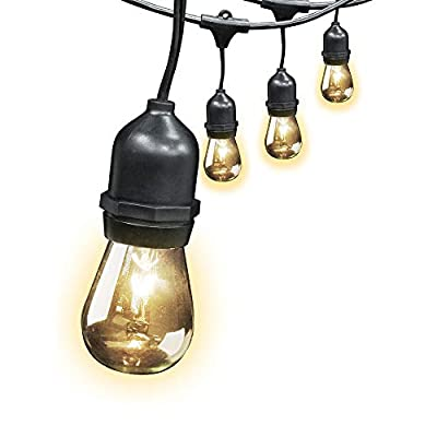 FEIT ELECTRIC 72041 30 Foot Heavy-duty Weather resistant Decorative indoor and outdoor 10 Sockets Incandescent String Lights, 30', 11W, Dimmable,Black
