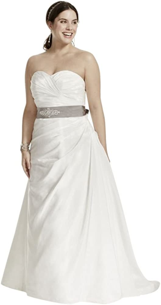 David's Bridal Taffeta Ruched A-Line Plus Size Wedding Dress Style 9WG3243