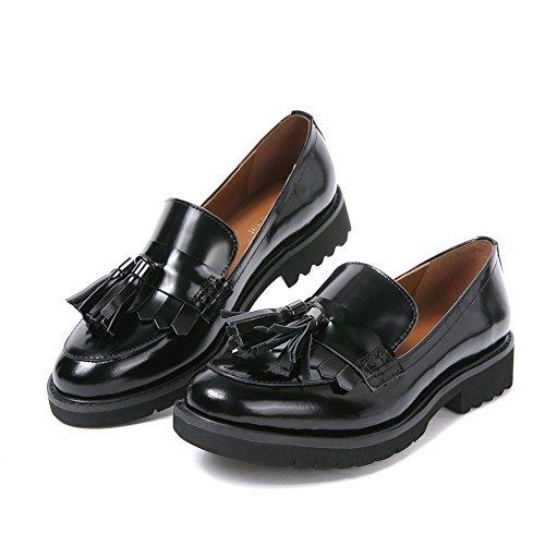 Mocassini Penny Donna Pelle Nero Eleganti Comode Piatte Loafers Scarpe con Frangia Calzature Tacco Basso(39,Nero Frangia)