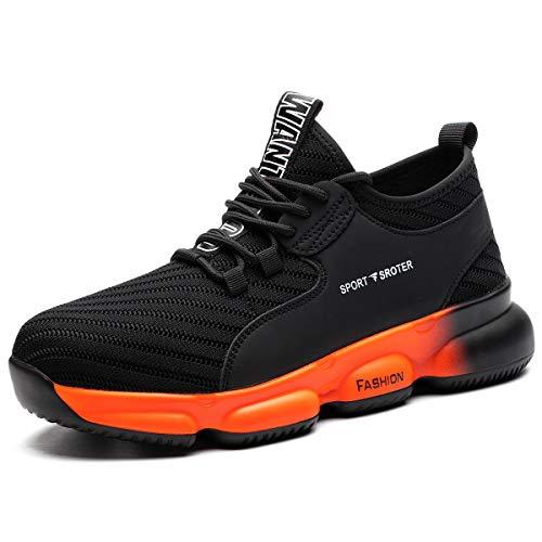 SROTER Sicherheitsschuhe Herren Damen Arbeitsschuhe mit Stahlkappe Atmungsaktiv Leicht Sportlich Sneaker Schutzschuhe Schwarz Orange 38 EU