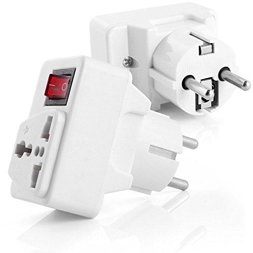 Neuftech Universal Adaptador convertidor de Enchufe Viaje con el Interruptor, para EU//Espa/ña//EE.UU//UK//USA//Reino Unido//Jap/ón//China//Francia ect Blanco Schuko