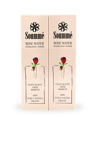 Soummé Rosenwasser - 100% biologisch, organisch & natürlich - 2 x 60 ml Pump Spray - (ganze 120ml) reinigend, pflegend und feuchtigkeitsspendend - vegan und bio zertifiziert