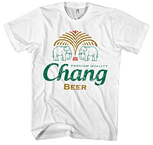 Chang Beer Männer und Herren T-Shirt   Bier Party Saufen Fun Thailand (Weiß, L)