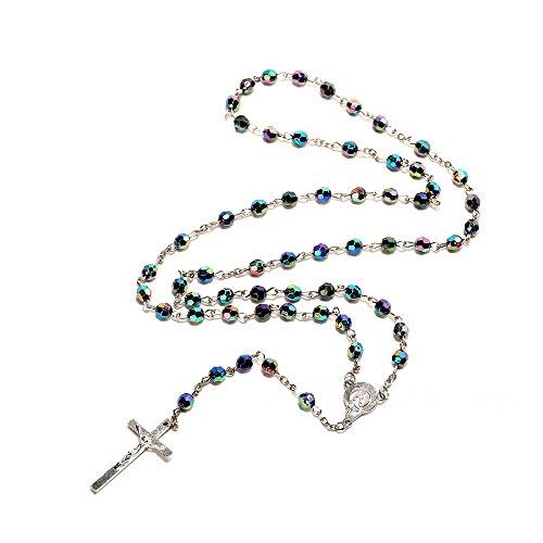 Rosario para mujer de Bodya con cuentas brillantes en tonos azules, collar católico, medalla de la tierra santa, crucifijo para rezo