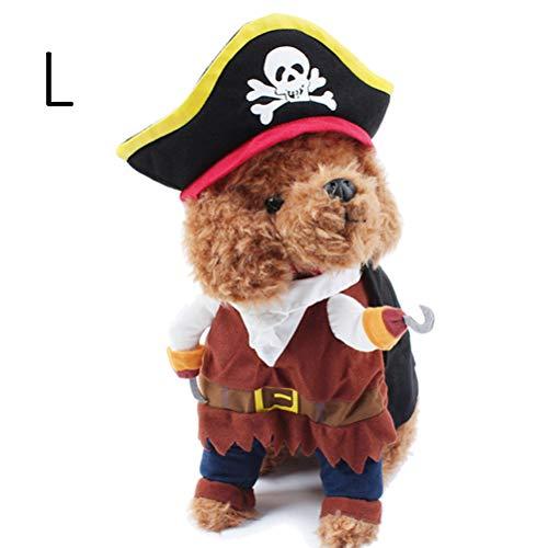 Halloween-Kostüm für Hunde und Katzen, Piraten-Kostüm, Anzug mit Hut, Corsair für Partys
