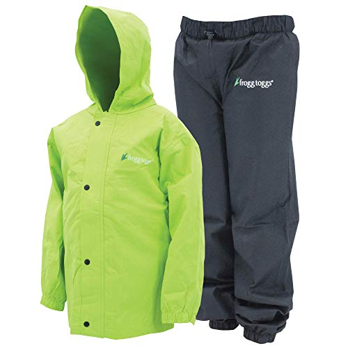 Frogg Toggs Polly Woggs Waterproof Breathable Rain Suit, Youth, HiVis Green, Size Large