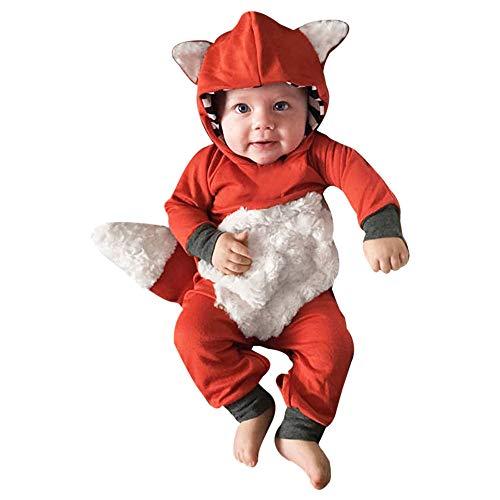Culater 2018 Neonata Bambina Ragazzi Halloween Pagliaccetto, Felpa con Cappuccio Cartoon Fox Stampata Pagliaccetto Tuta, Costume Party Top Abiti Abiti (6-12 Mesi, Arancia)