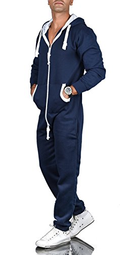 A. Salvarini Herren Jumpsuit Overall Jogging Anzug Trainingsanzug Jogger Sportanzug AS-039 [AS-039-Navy-Gr.XXL]