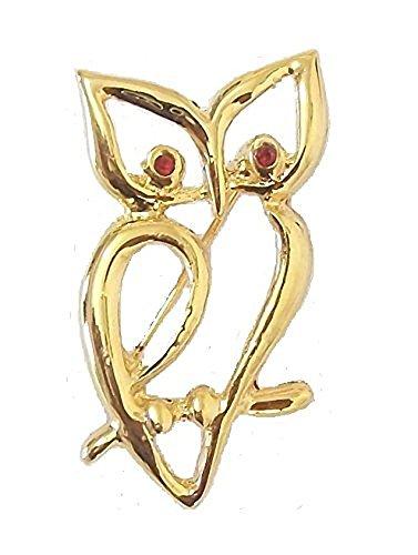 Oro finitura cristallo occhi rossi seduta Gufo Spilla Vintage Fancy Dress partito gioielli per le donne